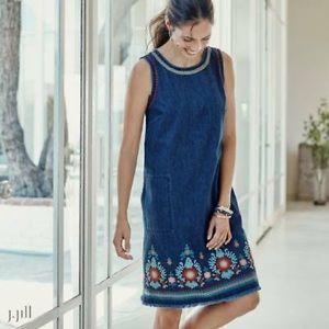 J. Jill denim embroidered shift dress Malibu